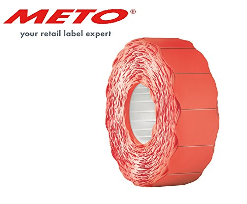 Meto Etiketten für Handauszeichner 9506169 (26 x 16 mm, 2-zeilig, 6.000 Stück, permanent haftend, für Meto, Contact, Sato, Avery, Tovel, Samark etc.) 6 Rollen, fluor rot