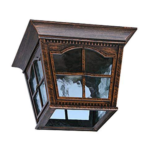 Bronze Bad Leuchte (Retro E27 Deckenleuchte Vintage Industrie Deckenlicht Aluminium und Glas Schirm Deckenlampe Schlafzimmer Balkon Korridor Eingangs Bad Garten Wasserdicht Leuchte,Bronze)