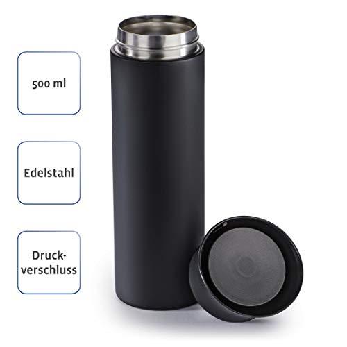Xavax 500ml Thermobecher (500ml, Isolierbecher für Heiß- und Kaltgetränke, auslaufsicher, isoliert, spülmaschinengeeignet, Druck-Verschluss, Trinkbecher to go) schwarz-matt