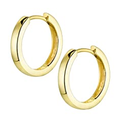 Idea Regalo - Materia #SO-358_B4 - Orecchini a cerchio da donna, in argento 925 placcato oro, 17 mm, con confezione regalo