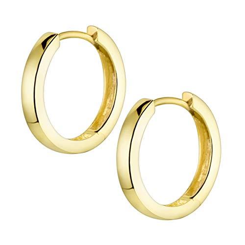 MATERIA Creolen Gold Damen Kinder Ohrringe Silber 925 vergoldet klein 17mm mit Geschenk-Schachtel SO-358-Gold_B4
