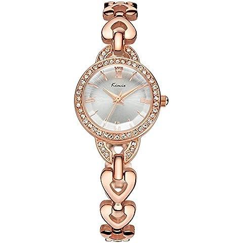 Moda En Forma De Corazón Reloj De La Pulsera Reloj De Cuarzo Para Mujer,Oro Rosa