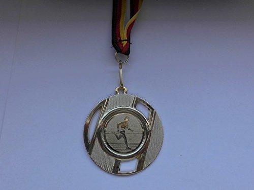10 x Medaillen aus Metall 50mm - mit einem Alu Emblem - Leichtathletik - Laufen - Sprinten - Lauf - inkl. Medaillen Band - Farbe: Gold - Emblem 25mm - (e257) -