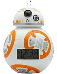 BulbBotz Star Wars BB-8 Kinder-Wecker mit Hintergrundbeleuchtung | weiß/orange | Kunststoff | 19 cm hoch | LCD-Display | Junge/ Mädchen | offiziell