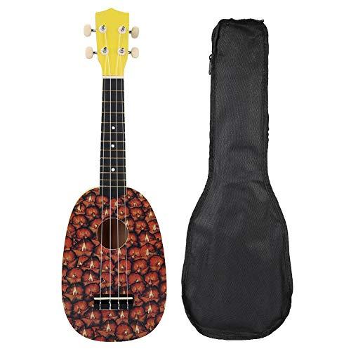 RiToEasysports Ukulele Gitarre Ukulele Hawaiian Gitarre Ukulele Gitarre für Kinder Portable Durable 21 Zoll 4 String Ukulele Schöne Ananas Hawaii Gitarre Saiteninstrument mit Tasche