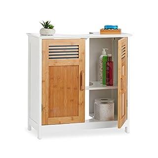 Relaxdays Waschbeckenunterschrank, Bambustüren, höhenverstellbarer Boden, Siphon-Aussparung, HBT: 60x60x30cm, natur/weiß