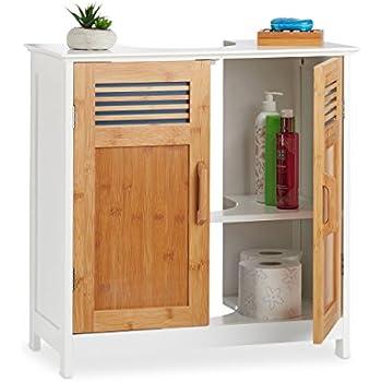 Relaxdays Waschbeckenunterschrank weiß LAMELL Badschrank aus Bambus
