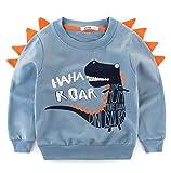 BesserBay Kinder Sweatshirts T Shirts Langarm Shirts Baumwolle Jungen Pullover Baby Blau/Dino 3-4 Jahre
