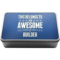 This Belongs to an Awesome Builder Metal Storage Tin Box 028