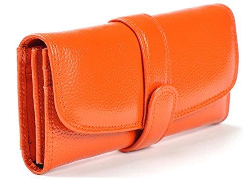Longzibog Dual verstellbare Schultergurte und Hängeschlaufenband Mode geldbörse damen lang Orange