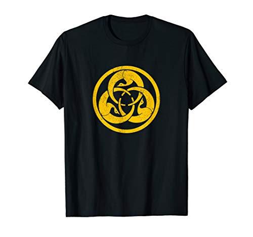 Hagakure Gold Cranes Samurai Bushido Warrior Crest T-Shirt (Cranes Crest)
