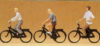 Preiser 1/87th–pr10336–Modelleisenbahnen–Jugendlichen an Fahrräder