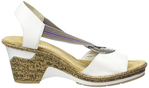 Rieker 60662-80, Sandales femme Blanc (Blanc)