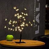 TOOSD Weihnachtskirschbaum-Tischlampe, LED-Nachtlicht-Niederlassung mit Lampen-Niederlassungs-Baum-Lichtern passend für Familie/Partei / Hochzeit/Innen- und Außenweihnachtsdekoration,warmlight