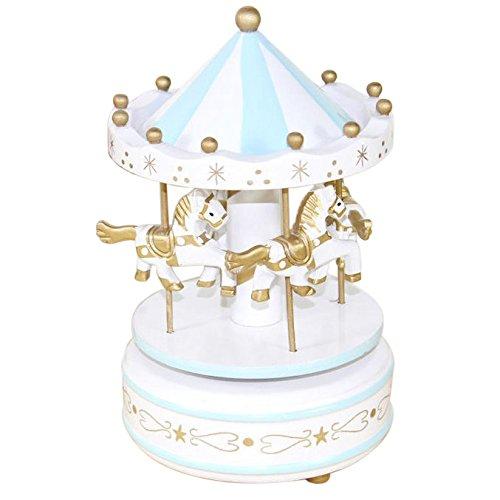 Kicode Vintages blaues hölzernes Plastik Merry-Go-Round Karussell Klassische Spieluhr Kinder Kinder Mädchen Weihnachtsgeburtstags-Hochzeits-Geschenk-Spielzeug Rosa Karussell-spieluhr
