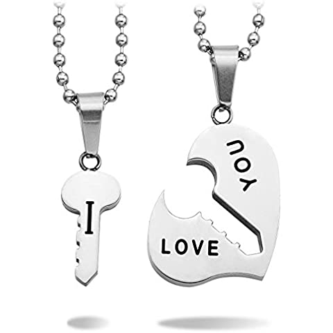 MeMeDIY 2 Pieza Acero Inoxidable Colgante Collar Corazón Clave Llave Pareja - Grabado
