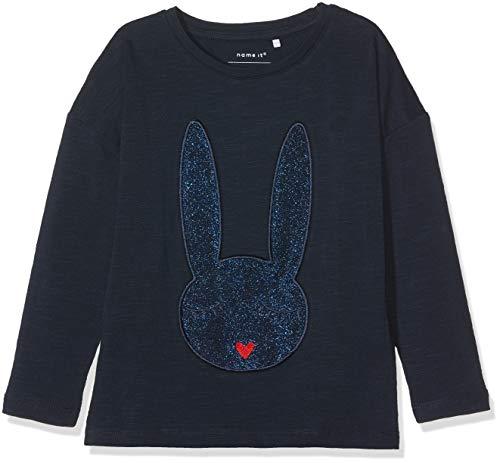 NAME IT NAME IT Baby - Mädchen Langarmshirt 13160530, Blau (Dark Sapphire), 92