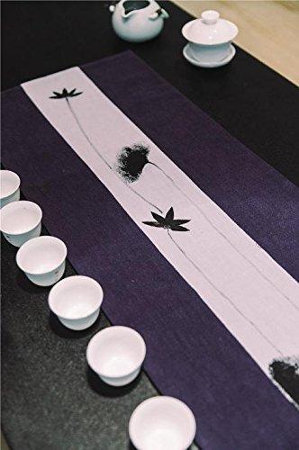 QIZHU0 Tischläufer Chinesisch Hand bemalt (Tinte Lotus) Tee Striped Home Textile Tischdecken Leinen Tischdecke blue 200x30 (Hand Baumwoll-leinen Bemalt, Von)