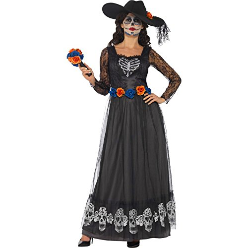 Smiffy's 44944S - Damen Tag der Toten Braut Kostüm, Kleid, Hut und Bouquet, Größe: 36-38, schwarz