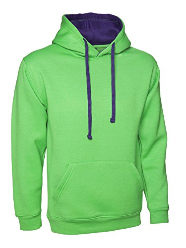 Sweat à capuche ample pour Sweat à capuche de couleur contrastée, taille 10 à 28) Multicolore - Lime with Purple