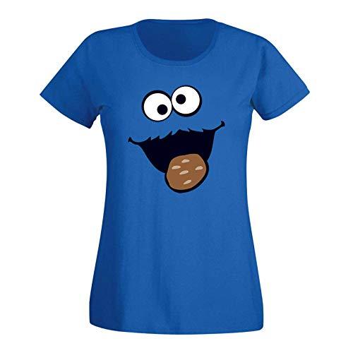 (T-Shirt Krümelmonster Kekse Karneval Fasching Kostüm Sesamstraße Damen XS - 3XL Verkleidung Gruppen-Kostüm Rosenmontag Party Feier, Größe:XL, Farbe:Royalblau)