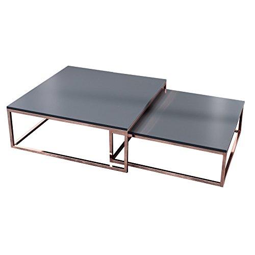 Invicta Interior Design Couchtisch 2er Set Elements anthrazit Kupfer Satztische Wohnzimmertisch Tischset