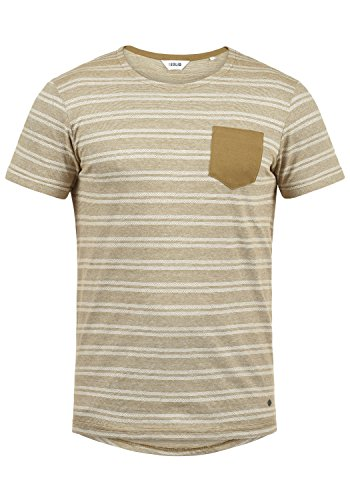 !Solid Fidel Herren T-Shirt Kurzarm Shirt Mit Streifen Und Rundhalsausschnitt 100% Baumwolle, Größe:XXL, Farbe:Ermine (5944) - 100% Baumwolle Henley