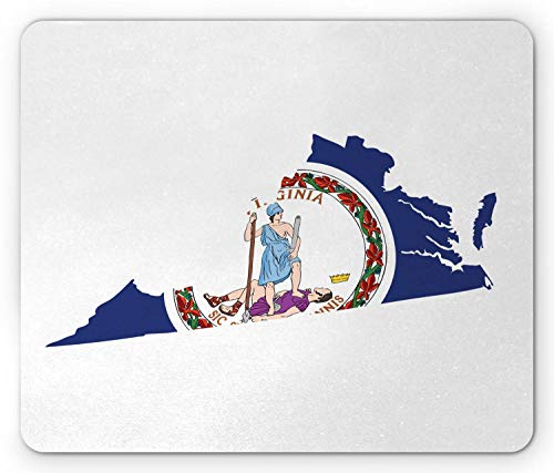 WYICPLO Virginia Mouse Pad, Old Dominion State Map and Waving Flag Thus Always to Tyrants Motto, Standard Size Rectangle Non-Slip Rubber Mousepad, Cobalt Blue Multicolor -