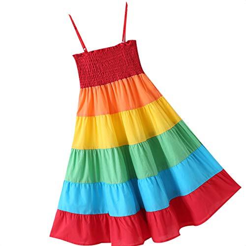Busirde Kinder Regenbogen-Splicing Farbe Lange Kleid-Mädchen-Kind-Kleinkind-Sleeveless Sommer-Baby-Riemen-Kleid 100 (Passt Kleinkind Kleid)