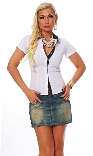 11029 Fashion4Young Damen Kurzarm Businessbluse Bluse Hemd Business Hemdbluse elastischem Stretch (L=38/40, weiss)