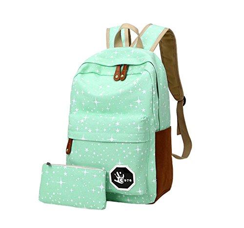 SAMGU Schoolbags Leinwand Umhängetasche Urlaubsreisen Rucksack Schul Studentinnen blau hellgrün
