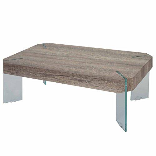 Table Basse de Salon KOS T578, FSC 40x110x60cm ~ Aspect chêne Sauvage, Pieds en Verre