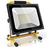 (2018 Neu Update) 50W Akku Baustrahler Led Akkustrahler Lampe - 3800lm mit 100 LEDs, bis zu 8 Stunden Leuchtdauer, mit GS geprüftes Ladegerät, Akku wechselbar