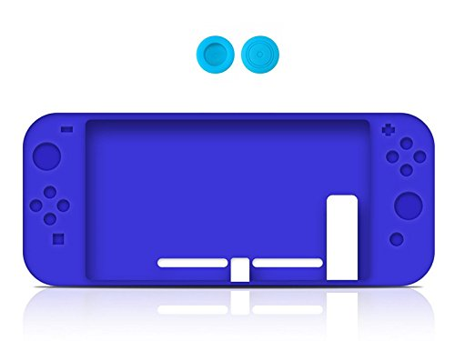 Chickwin Nintendo Switch Silikon Hülle Tasche Slim Soft Gel Protective Case Cover + 2 Thumb Grips für Nintendo Switch (Blau) (Collector Card Display Case)