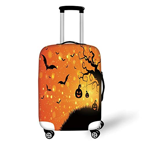Travel Luggage Cover Suitcase Protector,Halloween,Magical Fantastic Evil Night Icons Swirled Branches Haunted Forest Hill Decorative,Orange Yellow Black,for Travel,S