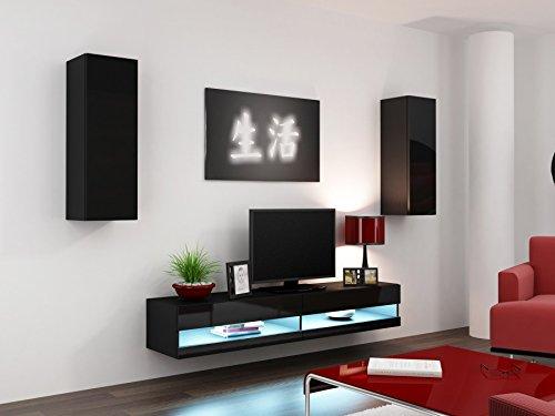 Wohnwand VIGO NEW 10, Anbauwand, Wohnzimmer Möbel, Hochglanz !!! Mit LED Beleuchtung !!!