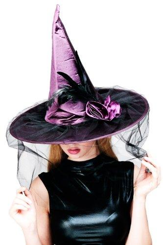 sching Karneval Halloween Hexe Hexenhut Wicked Witch Spitzhut Federn Aufwendig H20 ()