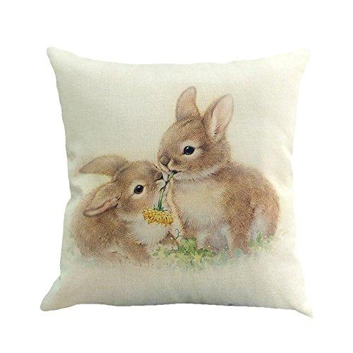 45 × 45 cm im Quadrat Leinen Baumwoll Kissen Ostern Kissen Tassendruck Kaninchen Küken Kopfkissenbezug JMETRIC(Weiß)
