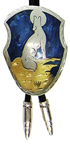 Modestone Unisex Bolo Wolf Howl Full Moon & Silver Bullets O/S Silver