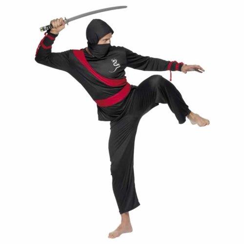 SMIFFYS, Heren Ninja Costume Guerriero, parte superiore, pantaloni, sciarpa e cappuccio, taglia: M, 20386