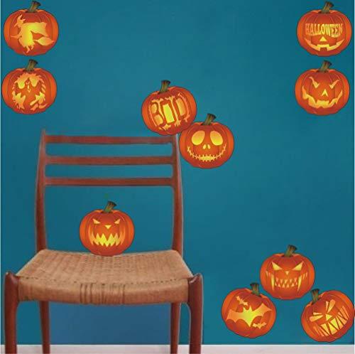 fkleber-Set mit 10 verschiedenen Motiven von Kürbis-Aufklebern für Zuhause, Küche, Wandbilder, Halloween-Party-Dekoration, Orange ()
