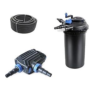 Aquaristikwelt24 Bio Teichfilter CPF 15000 Set +Teichpumpe +Teichschlauch +UVC Klärer Filter
