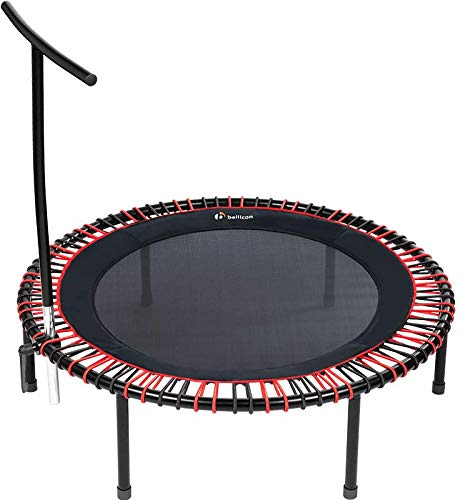 bellicon Plus Fitness-Trampolin mit T-Stange, rot/schwarz, ø 125 cm, Klappbeine, Komfortmatte, bis 200 kg, inkl. umfangreichem Einführungspaket, Made in Germany (Ultra Starke Seilringe (150-200 kg))