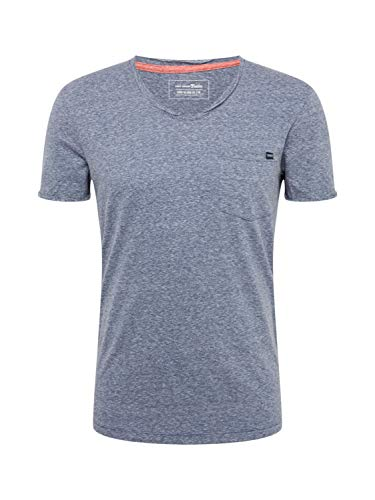 Denim-t-shirt Top (TOM TAILOR Denim T-Shirts/Tops T-Shirt mit Brusttasche Black Cosmos Blue Melange, XXL)