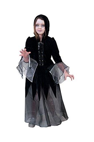 Karneval-Klamotten Hexen-kostüm Kinder Hexe für Mädchen Hexenkostüm schwarz Zombie Halloween Hexenkleid inkl. Kapuze 164