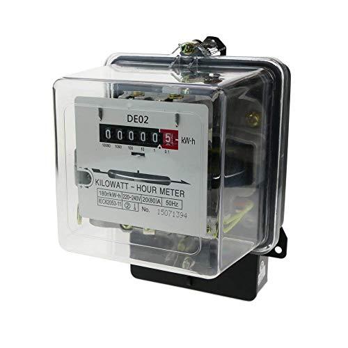 Cablematic - Contador medidor de electricidad monofásico 20A 230V 50Hz de plástico...