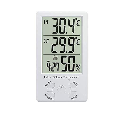 CWC Termómetro Digital de 2 en 1 preciso de la Temperatura y Humedad, con Pantalla LCD Grande de 1,5...