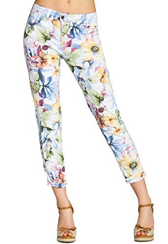 CASPAR Damen 7/8 Sommer Hose mit Blumen Muster / Lilien / Flower Print - KHS021, Farbe:weiss;Größe:XL - DE42 UK14 IT46 ES44 US12