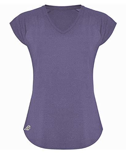 GO HEAVY Damen Fitness Funktions Sport T-Shirt Laufshirt Kurzarm Schnelltrocknend Yoga Sportoberteil | Mauve S