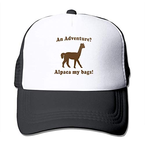 ewtretr Turnbeutel Hipster Sporttaschen an Adventure Alpaca My Bags Summer Mesh Baseball Cap Trucker Hats Unisex Black